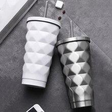 Roestvrijstalen Geïsoleerde Beker Thermosflessen Thermos 500Ml Geïsoleerde Thermos Auto Koffie Mok Reizen Drink Fles Met Stro