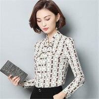 2018 봄 간단한 셔츠 한국어 여성의 셔츠 패션 긴 소매 블라우스 플러스 사이즈 슬림 인쇄 쉬폰 여성 탑 블라우스