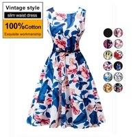 100 Cotton Sleeveless Floral Print Summer Vintage Dress Women 2017 High Waist Vestidos Short Party Dresses