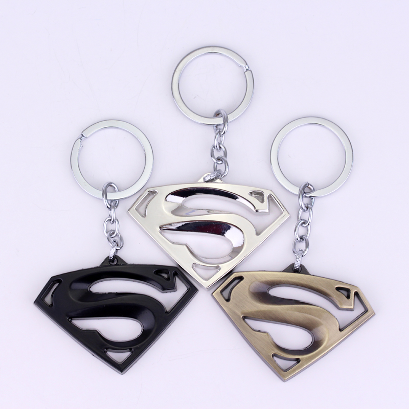 New Superman Logo Keychain Super Hero Logo Metal Pendant Keyring Key Chain Gift For Fans Movie Superman Keychain Jewelry