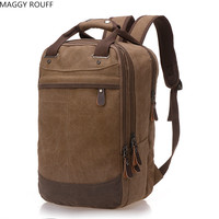 Mens Lady Canvas Backpack Student Bag Large Capacity Laptop Backpack Leisure Travel Backpack