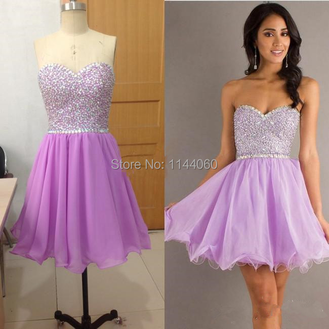 Cheap Lavender Prom Dresses Short Sweetheart Beaded sequins Line Chiffon Party - Taomee Store store