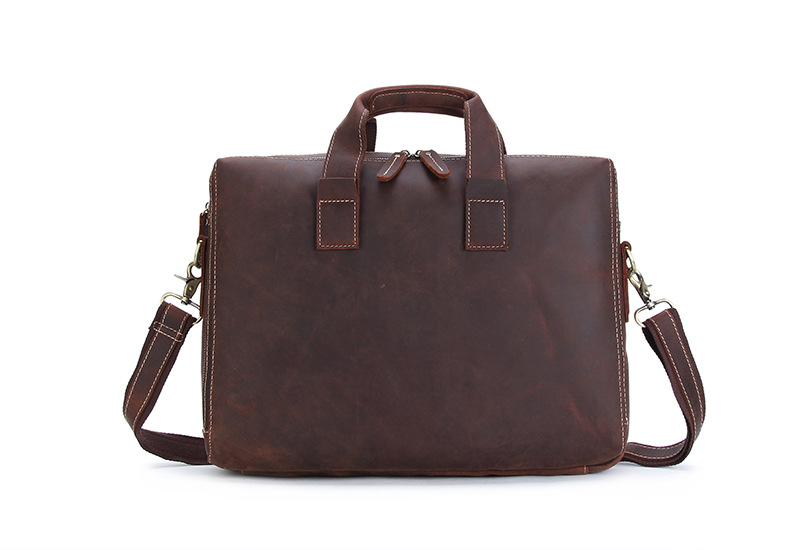 Vintage Crazy Horse Genuine Leather Briefcase Men Messenger Bag Men Briefcase Leather Laptop Bag Tote Male Office Brown #M3900 joyir genuine leather men briefcase bag handbag male office bags for men crazy horse leather laptop bag briefcase messenger bag