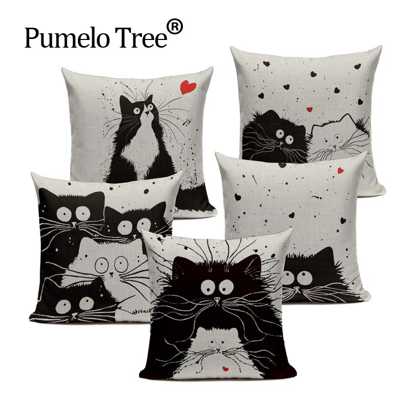 Черно-белая наволочка с мультяшными изображениями, наволочка для дома, офиса, дивана, квадратная наволочка с котом, декоративные наволочки, ...