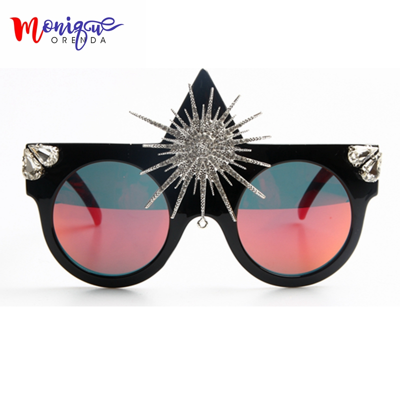 Brand Designer 2017 Sunglasses Women Big Sun Flower Queen Style Luxury Sunglasses For Ladies Party Sun