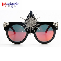 Brand Designer 2017 Sunglasses Women Big Sun Flower Queen Style Luxury Sunglasses For Ladies Party Sun