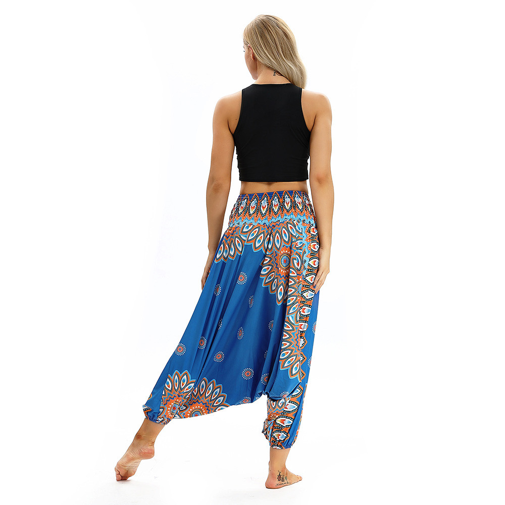 Women Men Pants Casual Woman High Waist Wide Leg Harem Trousers Baggy Boho Loose Aladdin Festival Hippy Jumpsuit Print Lady pant 103