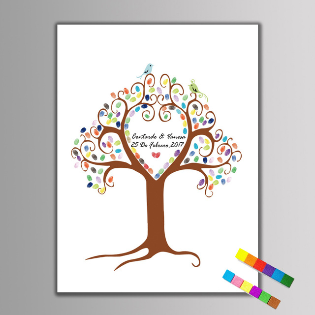 Aliexpress buy diy fingerprint tree sign in book wedding diy fingerprint tree sign in book wedding canvas painting fingerprint signature guest book wedding tree painting sciox Images