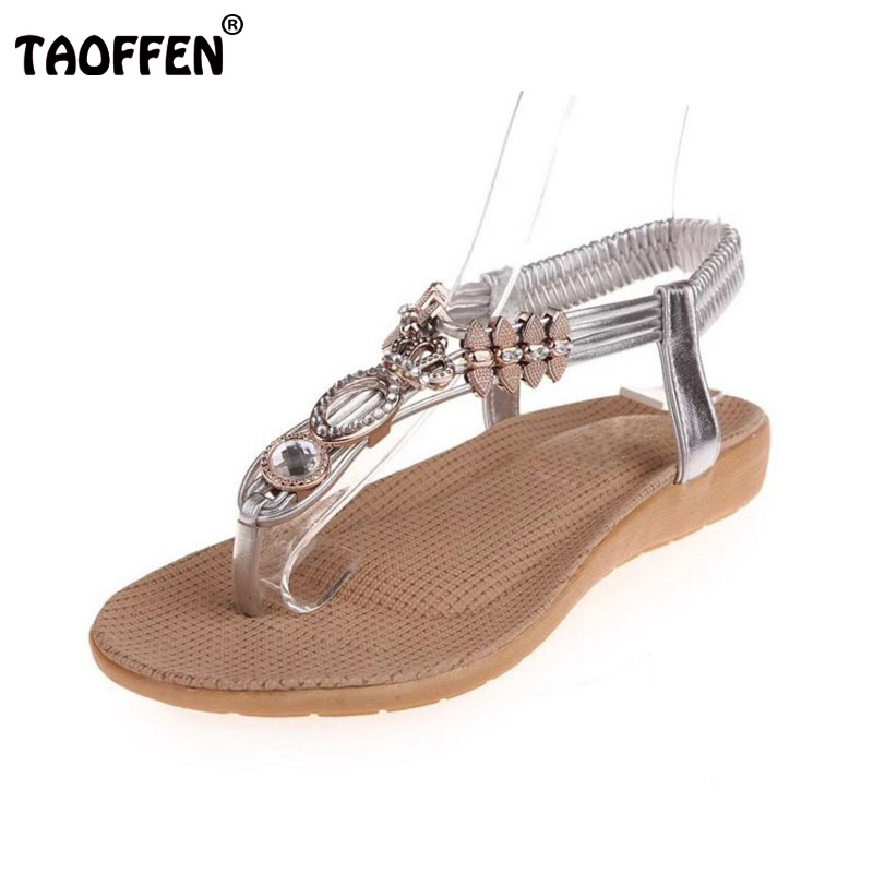 TAOFFEN Sexy Women Bohemia Summer Flats Sandals Metal Beading Flats Flip Flops Holiday Sandals Vacation Women Shoe Size 35-39 sandals women flower beading summer flip