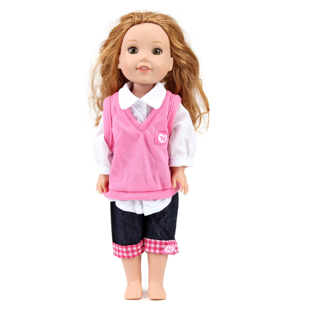 ZXZ  1PC Casual suit+1 pair purple red shoes for 14.5 Inch American Girl Dolls Wellie Wishers