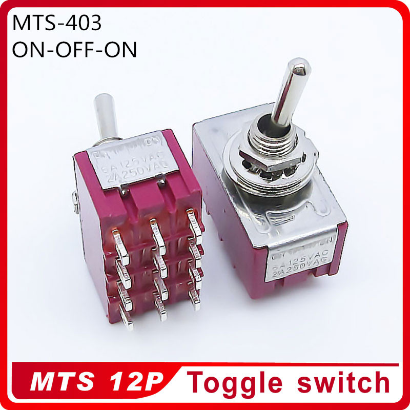 Wholesale 100pcs MTS 403 ON OFF ON 3 Position Latching 2A250VAC 5A125VAC Power 12pin Toggle Switch