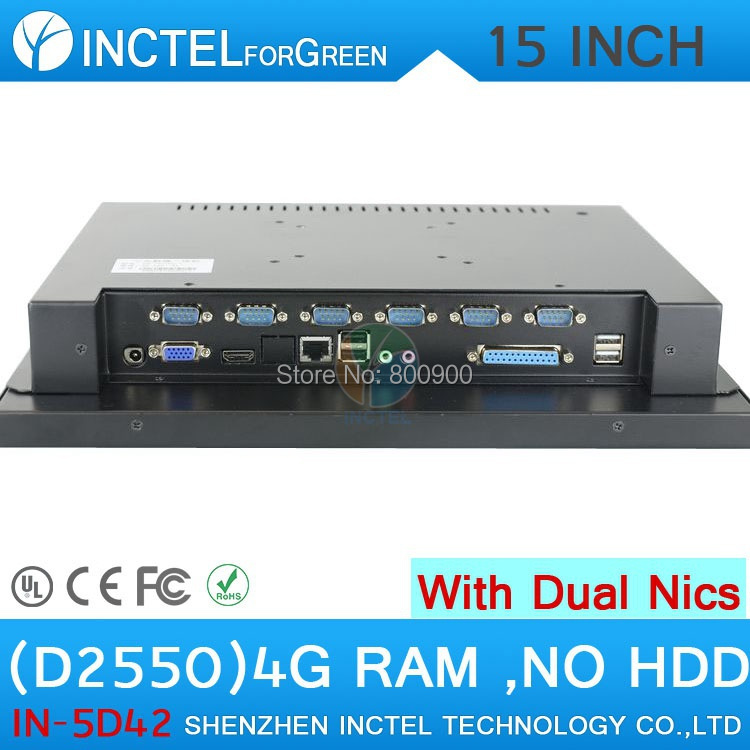 High quality 15 all in one LED touchscreen embeded POS PCs with Intel D2550 1 86Ghz