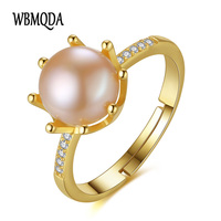Wbmqda 2017 New Charm Crown Ring Natural Pearl Sterling Silver Wedding Rings For Women Gift Box