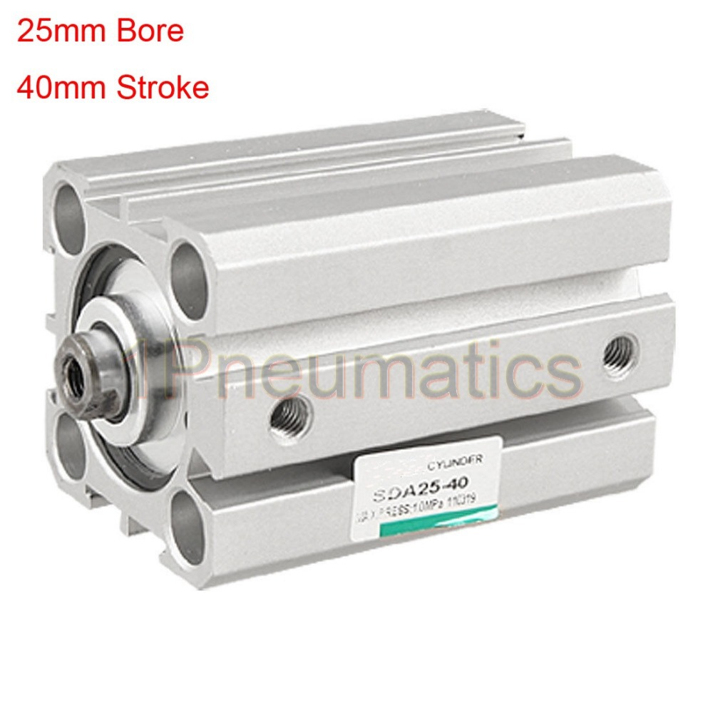 Free Shipping 2PCS/LOT 25mm Bore 40mm Stroke Double Action Metal Thin Air Cylinder Silver Tone SDA25-40 25mm bore 45mm stroke double action thin air cylinder