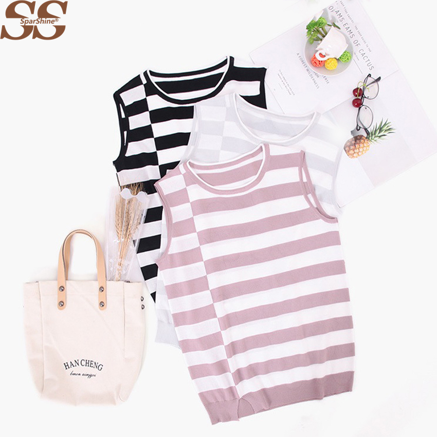Women Clothes Striped O-neck Sleeveless Thin Loose Knit Tops Tunique Femme Blusas De Inv ...