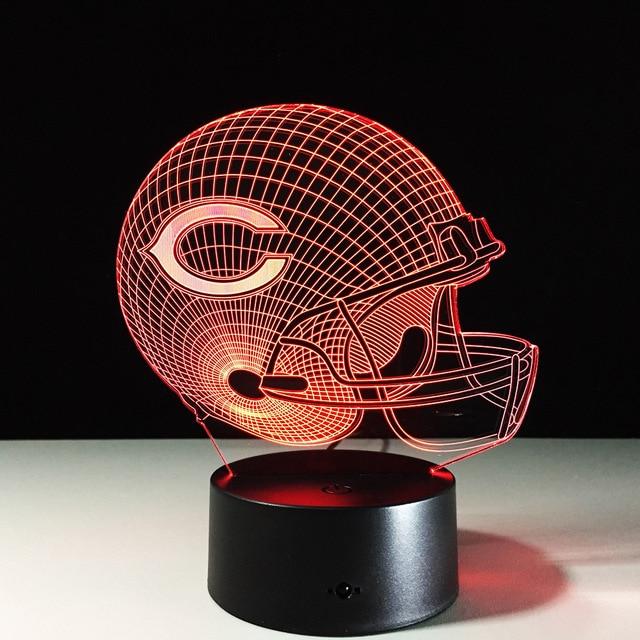 Novelty NFL Chicago Bears Football Helmet Illusion 3D Night Light 7 Color  Change Hologram LED Desk