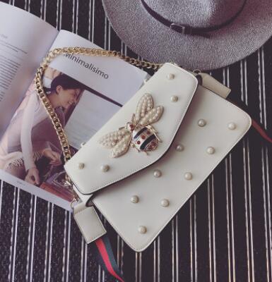 ФОТО Euro Famous Designer Women Luxury Handbags Fashion Pearl Decoration Chain Bag Cute Bee Printing Shoulder Bag Small Messenger Bag