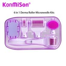 מקורי DRS 6 ב 1 Derma רולר Microneedle ערכות עבור מרובה טיפוח עור התחדשות טיפול מחטי Microdermabrasion Rollor