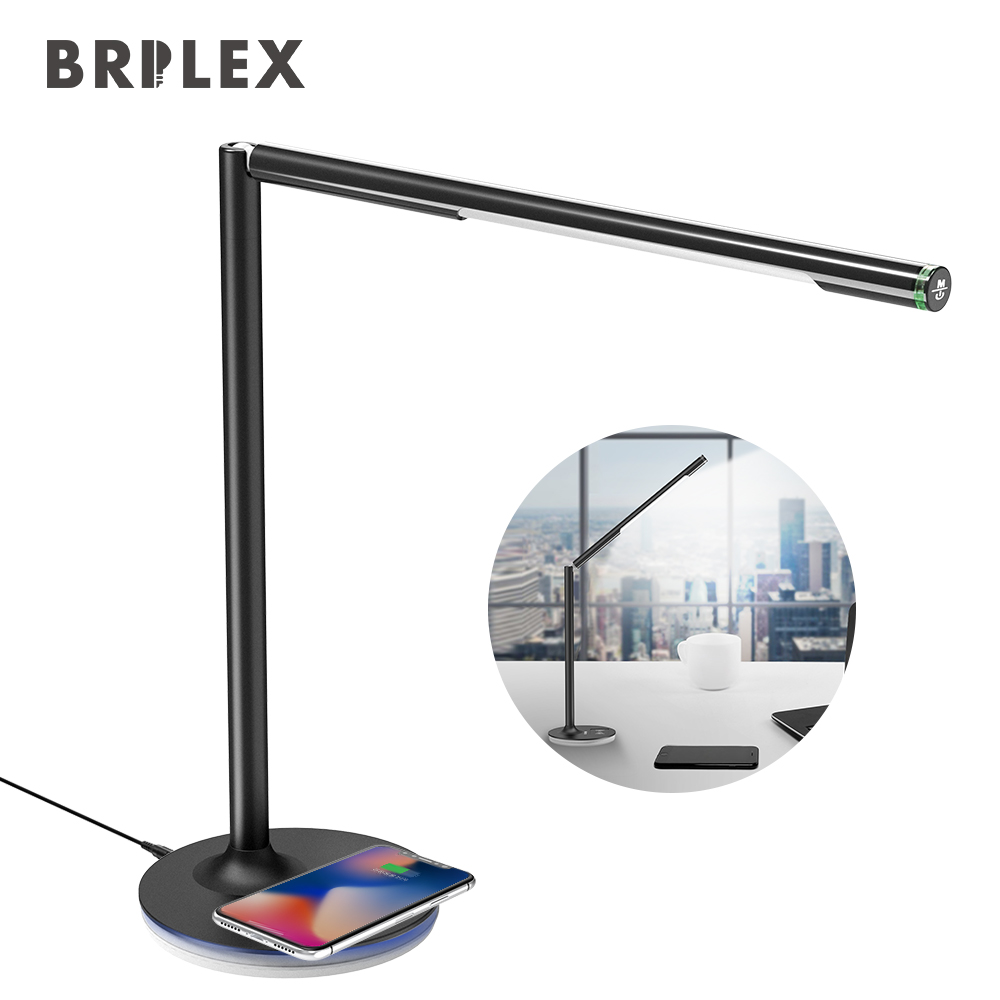 Brilex Desk Table Lamp Wireless Charging 360 Degrees Adjustable Stand & Holder Working Reading Studying Office Bedroom Use Black