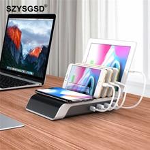 3 в 1 универсальное беспроводное зарядное устройство Подставка для samsung Note 9 S9 Быстрая зарядка Мульти USB зарядное устройство для iPhone iPad планшет Настольный