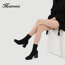 MAIERNISI Autumn Spring Stretch Fabric Women Sock Boots Fashion boots Black Mid-calf Short High Heel Shoes for lady