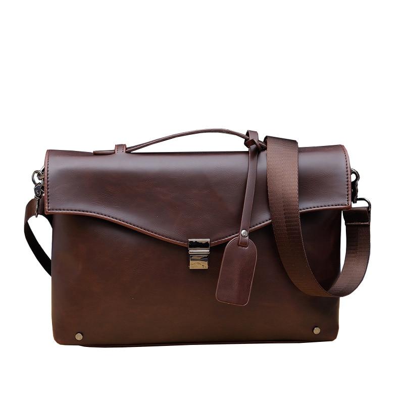 Vintage Women Men Briefcase Crazy Horse PU Leather Men's Messenger Bag Business Laptop Shoulder Bag Casual Travel Crossbody Bags
