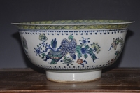 Antique hand painted porcelain chinese style ceramic bowl with KangXi Mark for collection