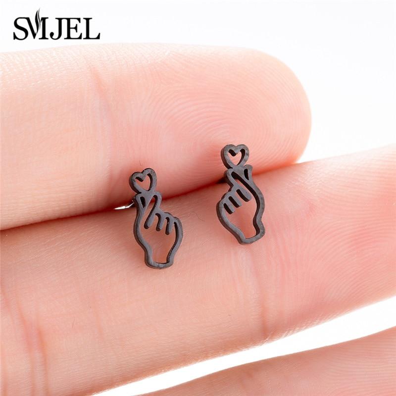 SMJEL Korean Hand Earrings Women Jewelry Earings Stainless Steel Show your Love Heart Stud Earrings Girl boucle d'oreille