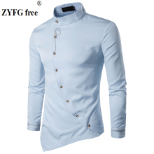 2018 Male Casual style shirt New Arrivals Oblique Button Irregular solid Embroidery pattern Fit Long Sleeve Shirt men EU/US size
