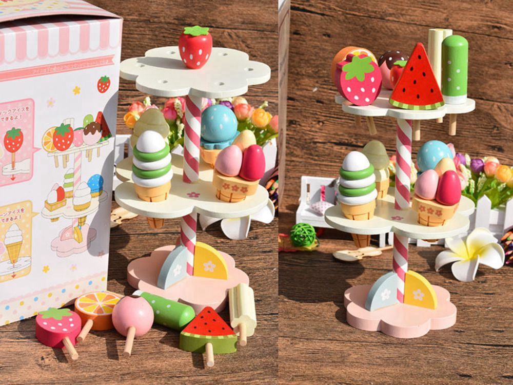 Baby Toys Simulation Magnetic Ice Cream Wooden Toys Set Pretend Play Kitchen Food Baby Infant Toys Food BirthdayChristmas Gift