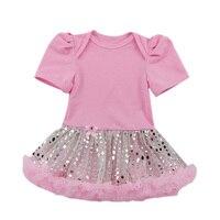 1 UNID Baby Girl Pink Romper con Adjunta Plateado Bling Lentejuelas Tutu Vestido de La Muchacha Infantil para 0-24months