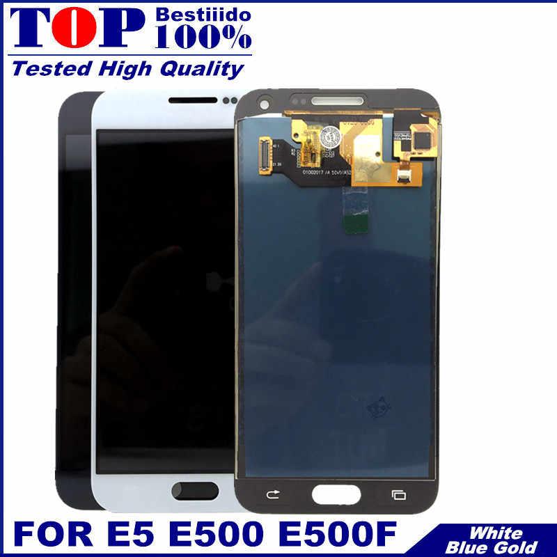 """5.0 """"E5 E500 LCD ekran Samsung Galaxy E5 E500 E500F E500H E500M LCD ekran dokunmatik ekranlı sayısallaştırıcı grup değiştirme"""