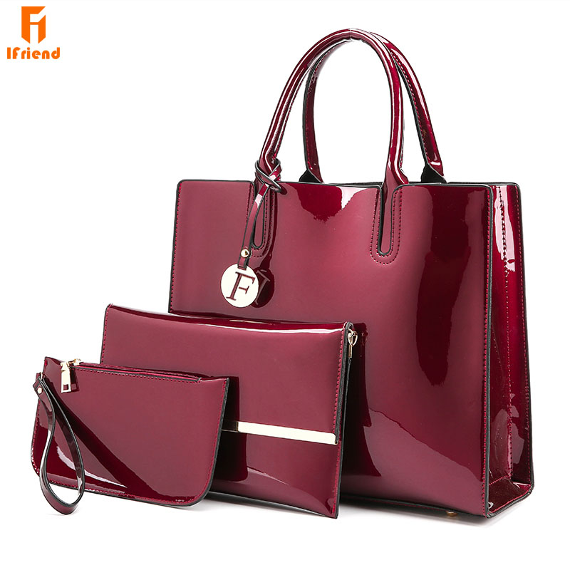 Ifriend 3 Sets High Quality Patent Leather Shoulder Bag Luxury Brands Ladies Tote Bag Messenger Crossbody