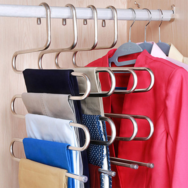 Stainless Steel Clothes Hanger Multifunction S type 5 Layers Pants Trousers Clothing Hanging Rack Closet Belt