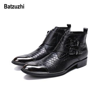 Batzuzhi Handmade Men Short Boots Metal Tip Toe Black Leather Short Boots Male Work, Safety Cowboy Boots Men botas hombre Buckle