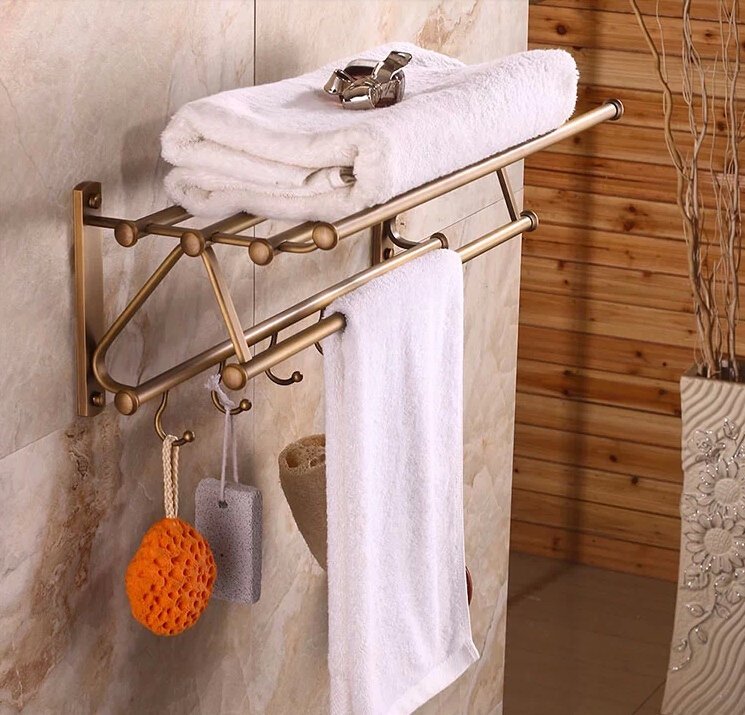 Antique Brass Bathroom Towel Rack with Hooks antique basket bathroom shelf european copper hanging pendant bathroom cosmetic towel rack with hooks bathroom accessories ac