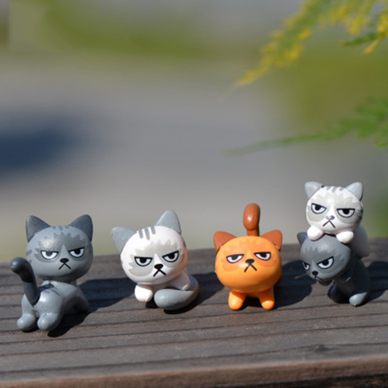 ZOCDOU 3 Pieces Angry Cat Unhappy Kitty Small Statue Mini Figurine Crafts Ornament Miniatures Play House Car Desk DIY Toy Decor