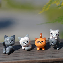 ZOCDOU 3 Pieces Angry Cat Unhappy Kitty Small Statue Mini