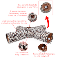 New Design Outdoor Foldable 4 Holes Multifunctional Leopard Print Long Cat Tunnel Collapsible Tunnel Toys Play