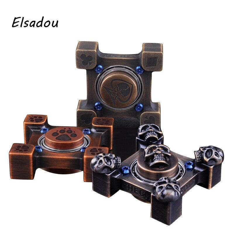 Elsadou Steel Flame Fidget Spinner CNC Copper Hand Spinner game darts legering metalen wapen model draaibaar darts cosplay props voor collectie fidget spinner hand anti stress
