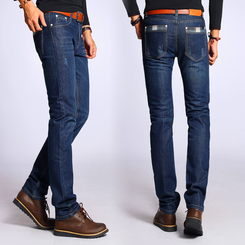 New Brand Men's Designer Blue Jeans Stretch Casual Straight Denim Jeans Male Slim Fit Cotton Business Trousers Vaqueros Hombre
