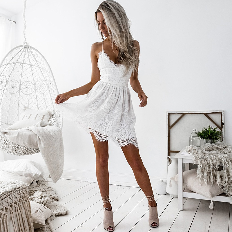 US  9.59. Sexy Elegant Solid V Neck Sleeveless Backless Lace Trumpet Dress bb2e0c0ed08f