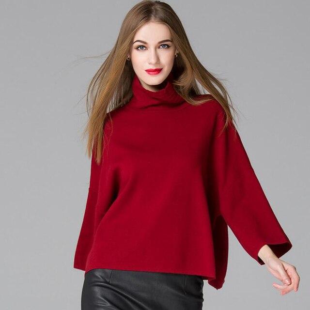Vinho Vermelho de Gola Alta Camisola Das Mulheres 2016 Outono Inverno de Alta Costura Casual Lady Blusas de Malha