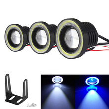 цена на 2Pcs Car COB 30W Light LED Fog Light 1200LM White Angel Eye DRL Driving Projector Signal Bulbs 3Inch Fog Lamps Auto Turning Lamp