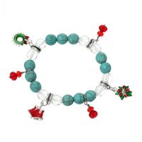 DoreenBeads Handmade Elastic Christmas Crystal Glass Created stone Bracelets Mixed W/Enamel Garland & Flower Pendants 23cm