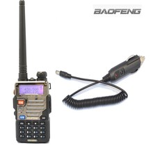New Black BAOFENG UV-5RE VHF/UHF Dual Band Radio + Car charger Cable +free earpiece+free shipping