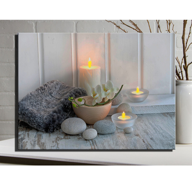 Light Lighted LED CANVAS WALL ART Painting SPA Picture With Orchidcanvas Wall  Art Framed Painting Light