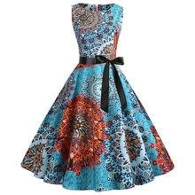 0cdec7e32edfb0 2019 sommer Kleider Frauen Vintage Retro Sleeveless O Neck Drucken Vestidos  Abend Party Prom Schaukel Kleid
