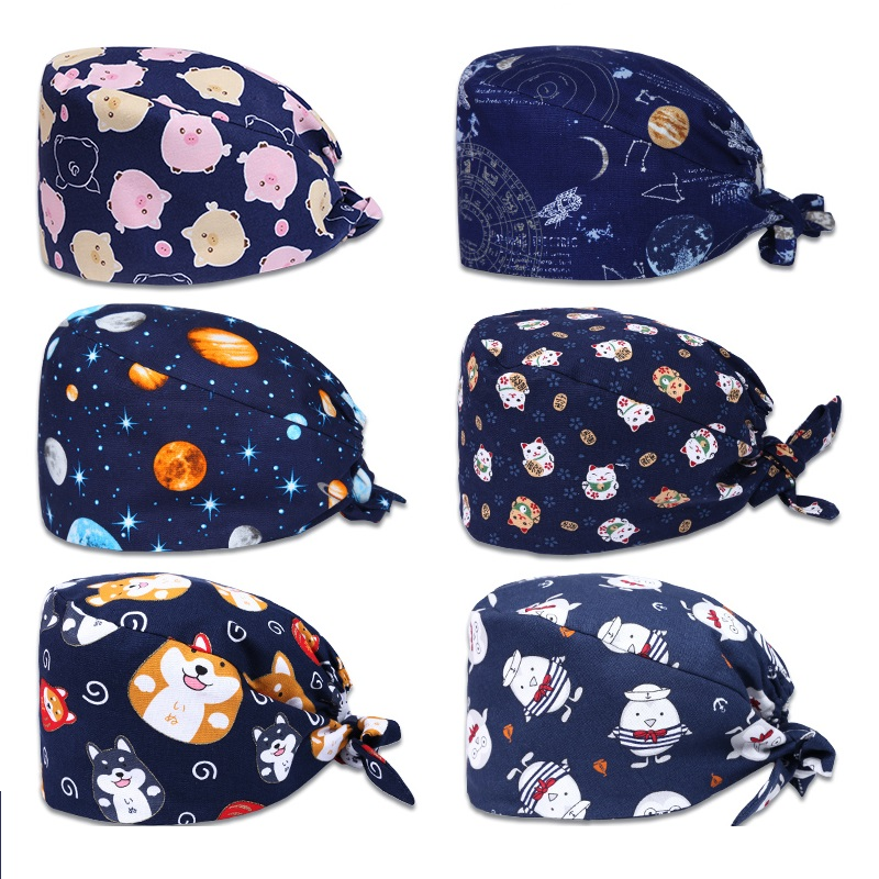 100% Cotton Printed Adjustable Back Tie Closure With Sweatband Breathable Dome Surgical Cap Women