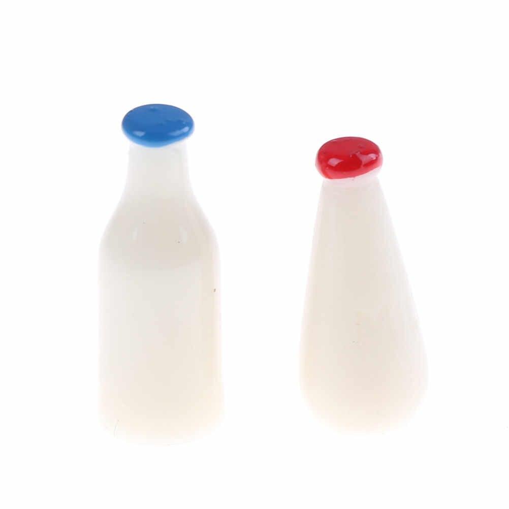 2 stücke neue Puppe Lebensmittel Küche wohnzimmer Zubehör für 1/6 1/12 Skala BJD EINE flasche mit milch gefüllt Puppe haus Miniatur Spielzeug
